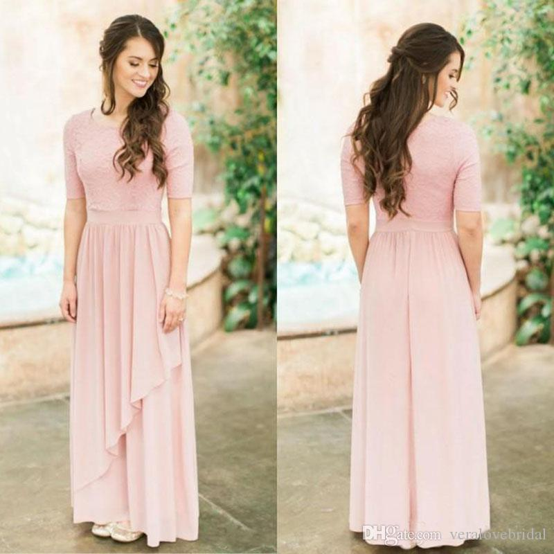 2018 Modest Rose Dusty Long Bridesmaid Dresses With Half Sleeves Lace Chiffon Country Wedding Bridesmaids Dresses Boho Sleeved Custom Made