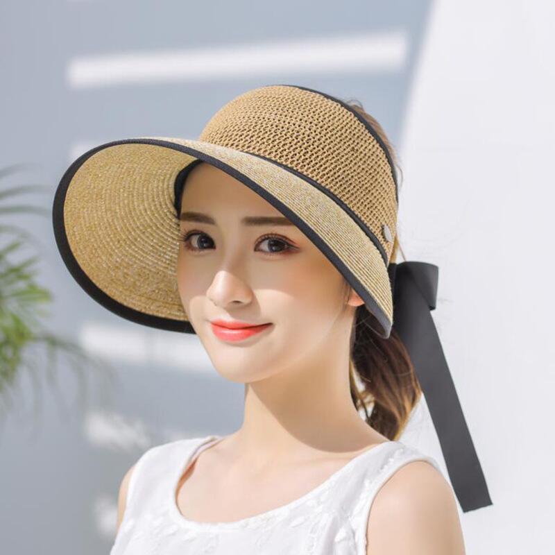 Verão Chapéus para mulheres aba larga com arco Chapéu de Sol Para Praia Outdoor Straw Hat ténis fêmea Visor Chapeu Feminino Toca