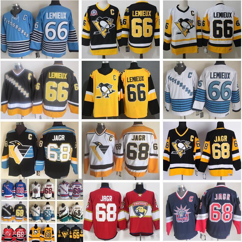 Hombres Pittsburgh Penguins 66 Mario Lemieux Jersey 68 Jaromir Jagr New York Rangers Florida Panthers Hockey Vintage CCM Blanco negro cosido