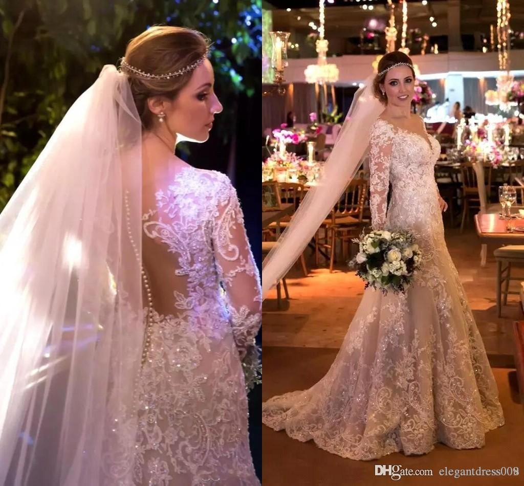 Cheap Vintage Mermaid Wedding Dress New Designer Backless Sequins Illusion Bodice Full Lace Button Long Sleeves Pleats Wedding Bridal Gowns