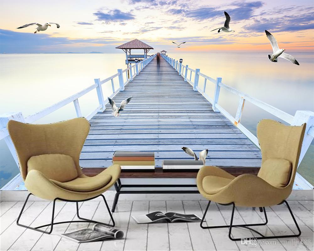 Kundenspezifisches Foto 3d WallpaperTwilight Fantasie Promenade Ocean View HD-Superior-Inneneinrichtung Tapeten