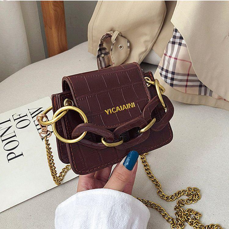 Kadınlar için 2019 Mini tasarımcı Çanta Omuz Çantaları PU Messenger altın zincir Çanta Crossbody Çanta Çanta iyi yılbaşı hediyesi Grils
