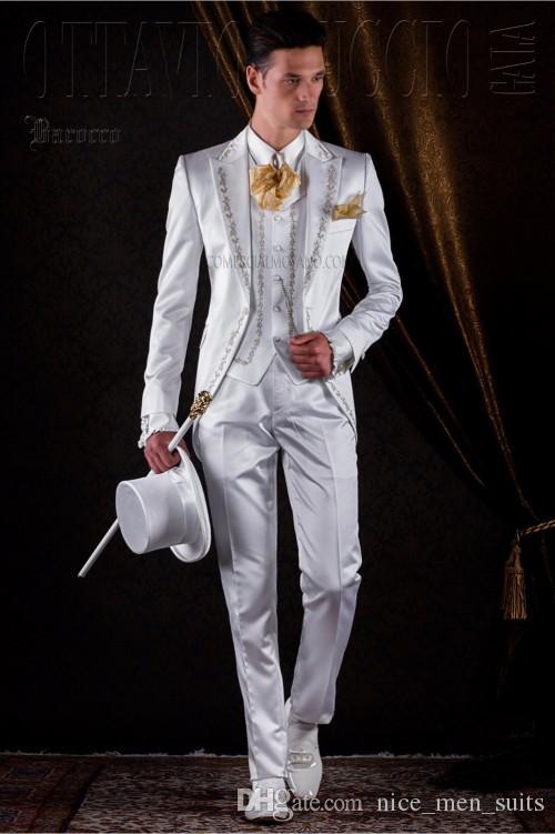 2019 Latest Coat Pant Designs Ivory/White Satin Embroidery Italian Men Suits Groom Jacket Long Wedding Tuxedo Costume Homme Mariage