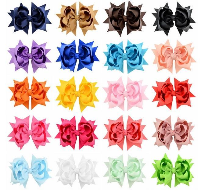 20 цветов ребёнки Бутик волос смычков Твердая клип Grosgrain ленты смычка волос Для детей Дети 3 слоя Bow Аксессуары для волос 722