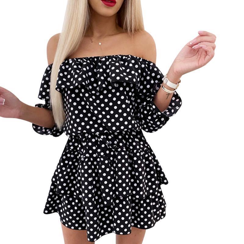 Frauen-Punkt-Druck-Kleid 2020 Sommer weg Schulter Boho beiläufige Rüschen A-Linie mit hohen Taille über Knie-Kleid-Mädchen-süßes Sommerkleid