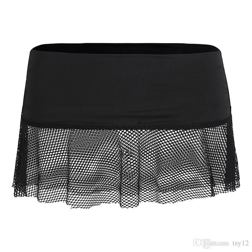 Mujeres Sexy Girls Night club faldas del lápiz ver a través transparente corto Mini Micro falda apretada de malla Mallas de poca altura, mini falda