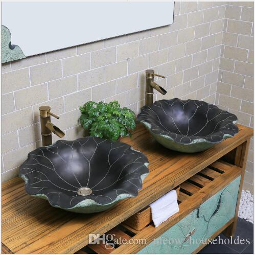 Estilo chinês antique banheiro bacia personalidade arte varanda banheiro bacia combinação armário tema Lotus rosto lavar piscina
