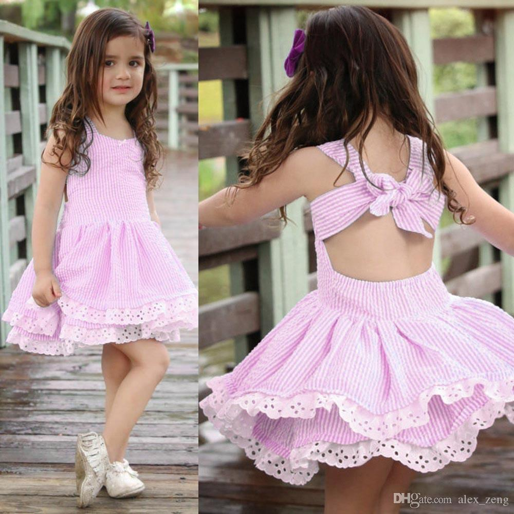 Baby Girl Summer Dress Girls Striped Backless Bowknot Princess Dress Kids designer Fashion Lace Flower Cotton Frocks Clothing 2 Colors