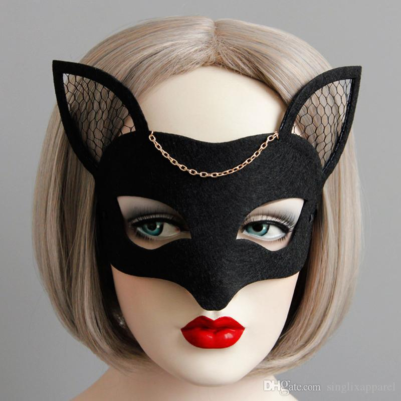 Black Fox Half-face Mask Masquerade Ladies Netted Half-face Fox Masks Halloween Party Hair Accessories for Kids