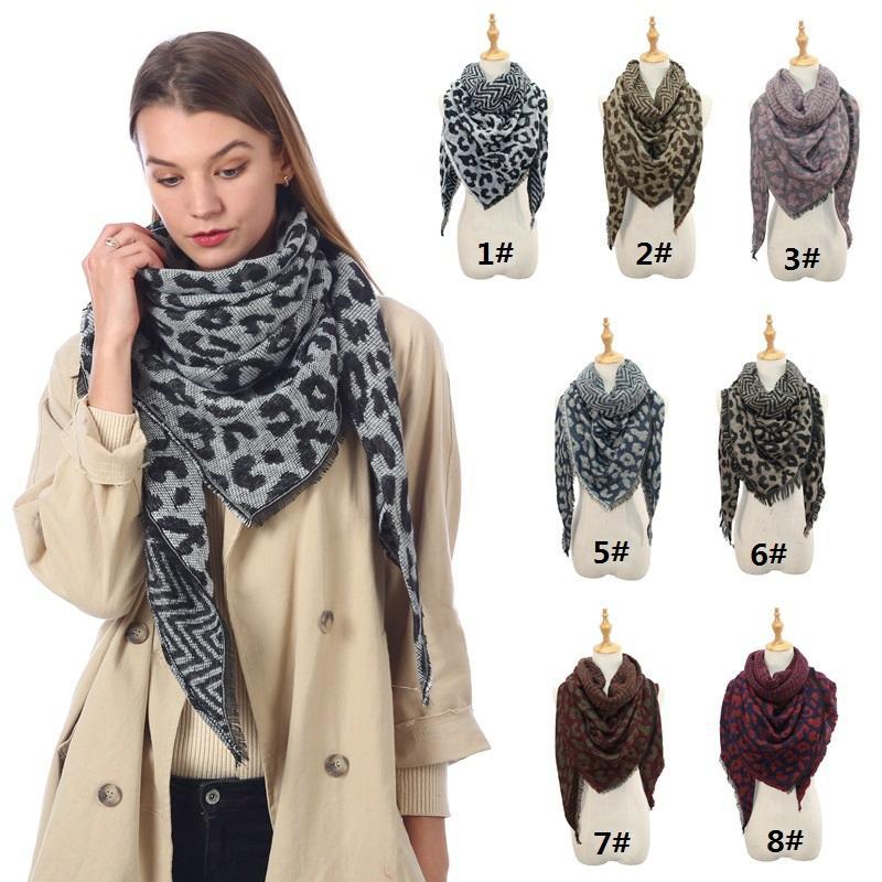 Женщина Leopard треугольник шарф Негабаритных зима теплая кисточка шарф Мода Большие Длинные шали палантины пашмины Одеяло WCW803