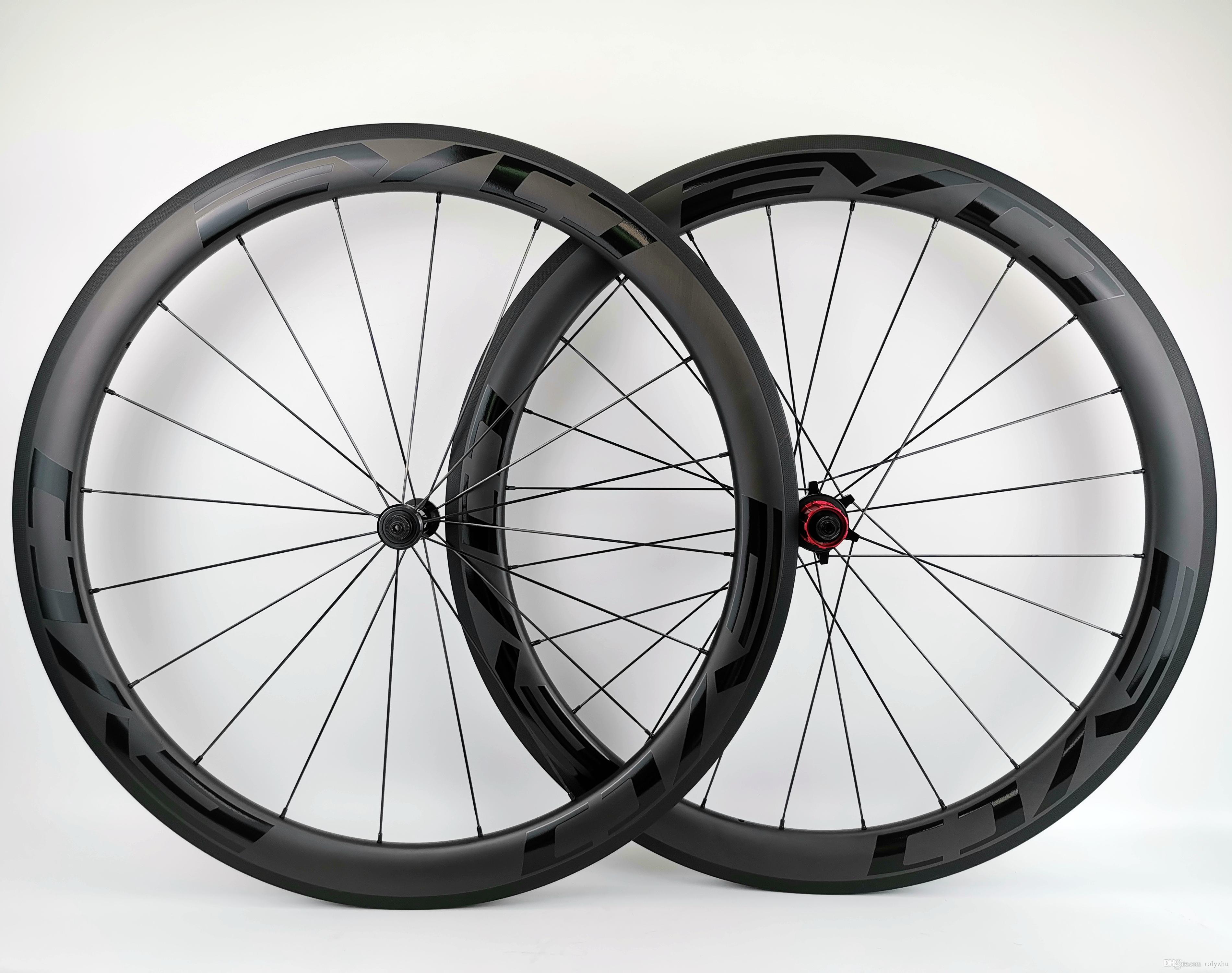 EVO 블랙 데칼이있는 완전 탄소 바퀴 50mm 깊이 25mm 너비 탄소 바퀴 클린 처 / 관형 도로 탄소 자전거 바퀴