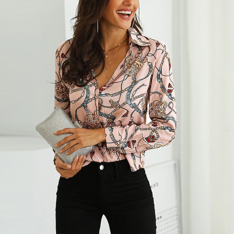 Hot Spring Frauen Leopard-Druck-Knoten vorn Bluse Shirt Büro-Dame Elegante Turn-Down-Kragen Langarm T-Shirt Button Street