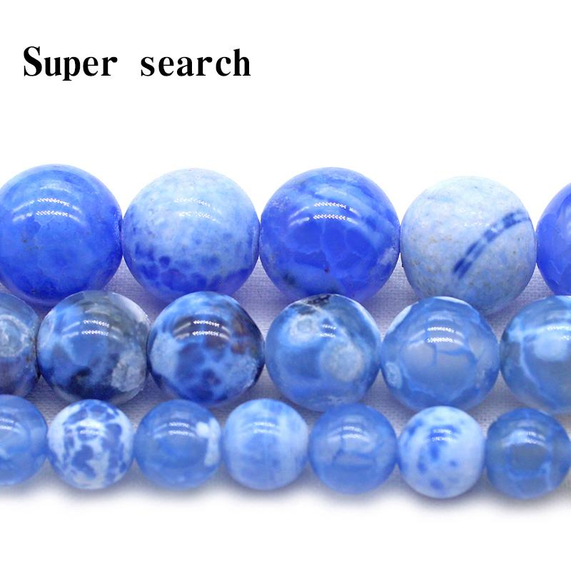Fashion Jewelry Beads Wholesale Natural Stone Chalcedony smooth Blue Agat Loose Round Beads Bracelet Necklace lady 6 8 10 MM Pick size