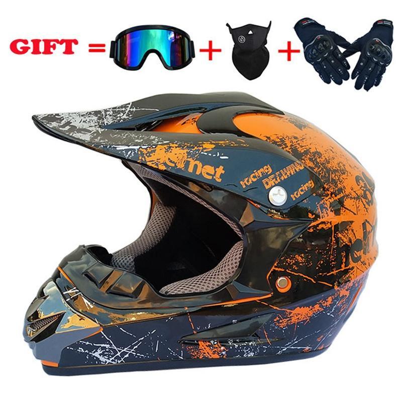 Casco del motociclo 4pcs Mask Set Off Road Motocross casco del motociclo del casco Offroad Atv Cross Racing Bike Casque con occhiali