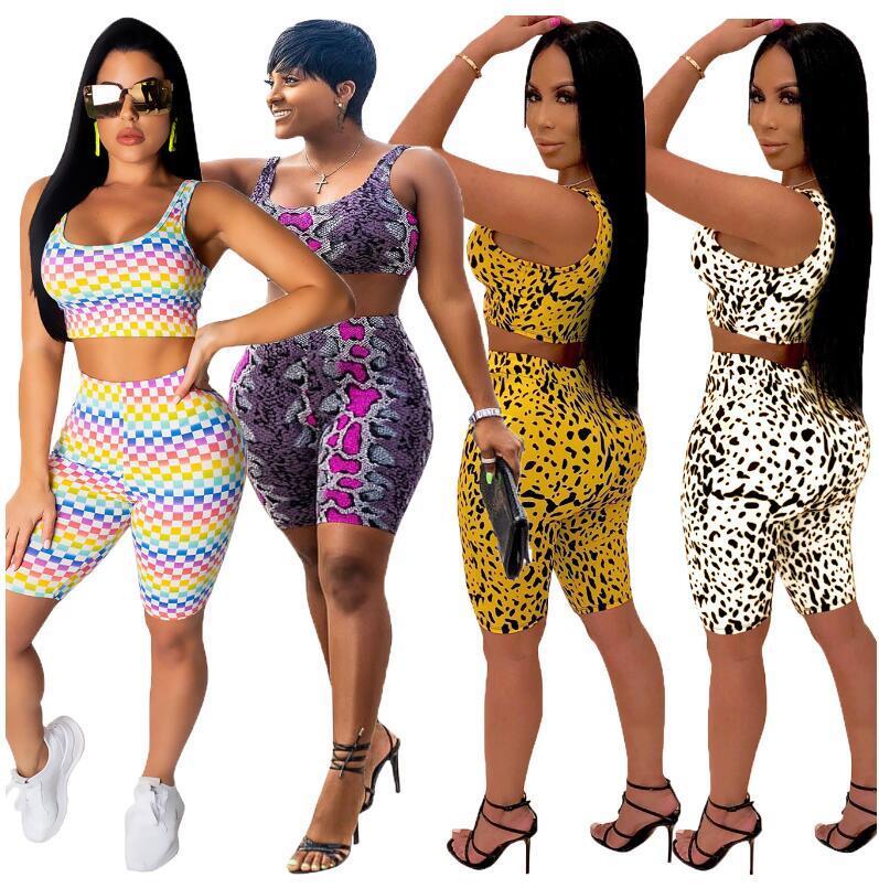 Mulheres 2 peças conjunto de treino sportswear Pescoço da colher colheitas Sem Manga ts-shirt BODYCON print leggings calções roupas de verão plus size