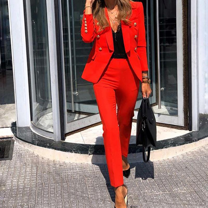 Plus Size Office Ladies Autumn 2 two piece set top and pants Elegant Female Casual Business matching suit sets Women clothing
