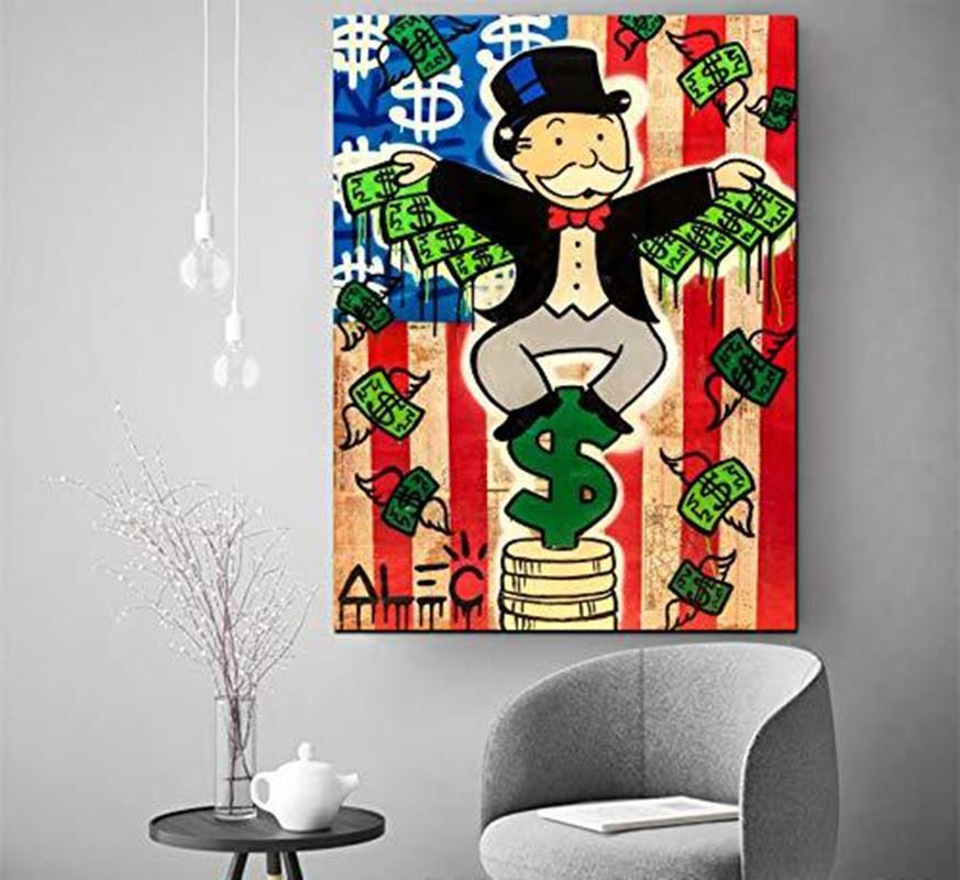 Alec Monopoly American Money Wing Home Decor Handpainted &HD Print Oil Painting On Canvas Wall Art Canvas Pictures 200517
