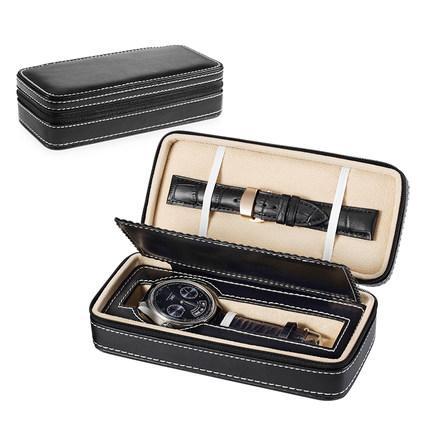 Alta Qualidade Relógio de Couro PU Caixa de Armazenamento Relógio Mecânico dos homens Caixa de Exibição Com Zíper Relógio de Viagem Proteger Caso Caixas de Presente