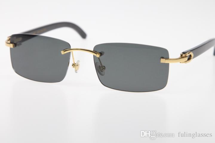 2019 Freies Verschiffen randlose Brille New Black Buffalo Horn SunGlasses Hot echtes natürliches 8.200.757 SunGlasses Hot Unisex Entwerfergläser New