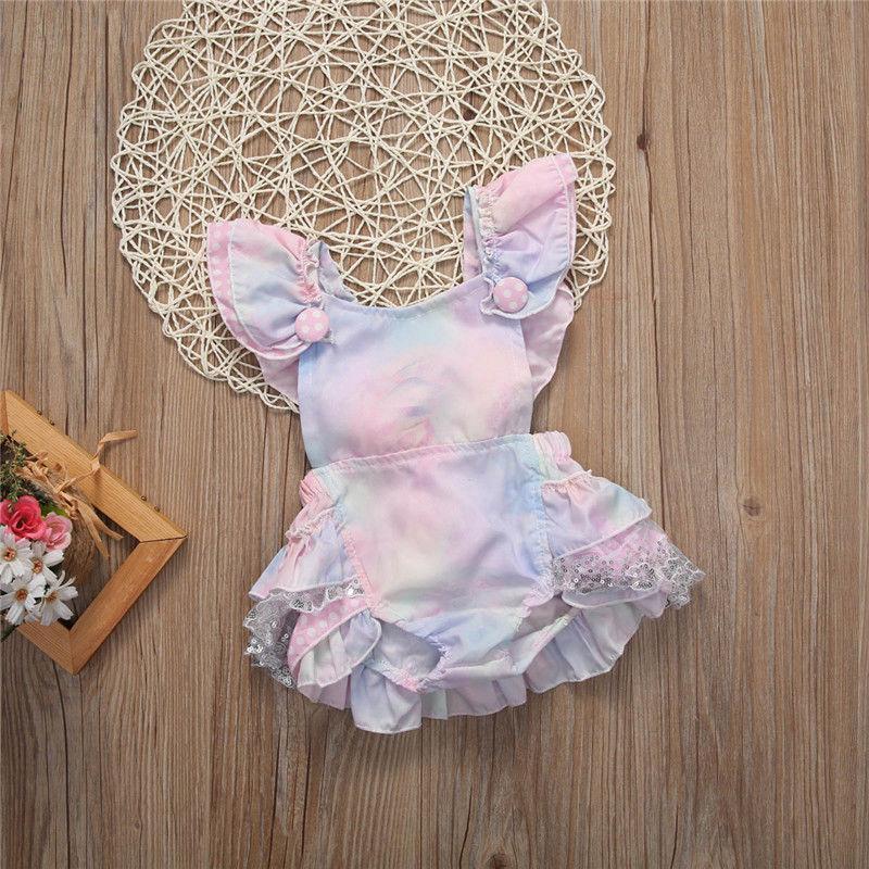 Лето Новорожденных малыши Infant ребёнок Цветочного Bodysuit Эпикировка Сладкая Красочная женской пляжного костюм Одежда 0-2Y