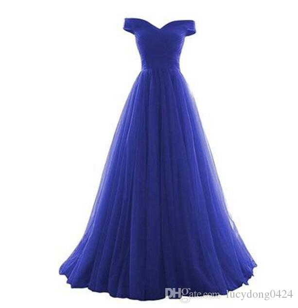 Abiti da damigella d'onore elegante blu royal pavimento-lunghezza Abiti da sposa damigella d'onore damigella d'onore off-spalla