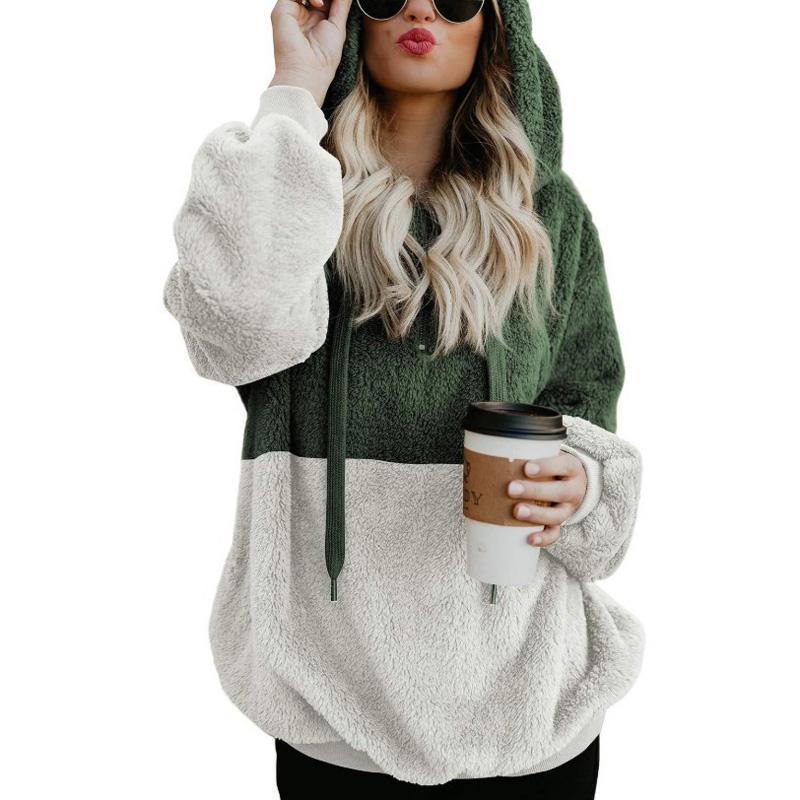 Женские толстовки для толстовки зимний мех свободные повседневные моды с капюшоном с длинными рукавами