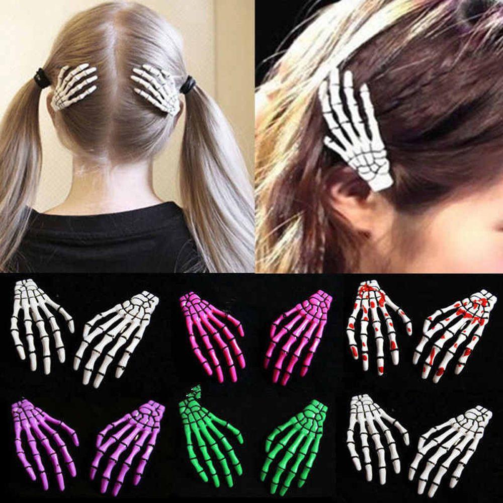 2 PCS / SET Nouveau crâne main os épingle à cheveux pince fantôme squelette pinces à cheveux pinces à cheveux pinces à cheveux os accessoires de cheveux