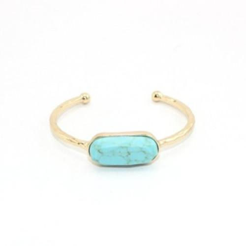 Wholesale 10 Pcs Trendy Gold Plated Geometric Shape Green Turquoise Open Bangle White Howlite Stone Fashion Jewelry