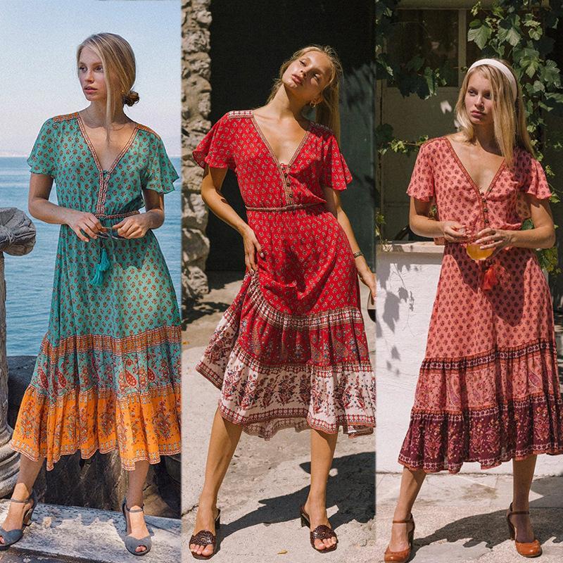 Лето New Bohemian ситцевое платья Женщины Шитье ретро V-образный вырез однобортный Большого свинг женщины платье Размер S-XL
