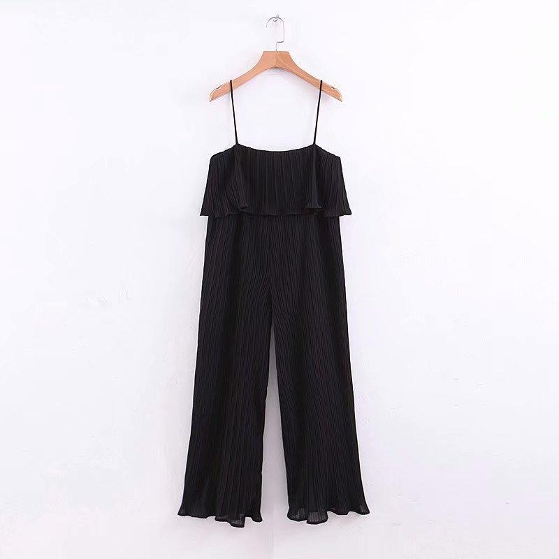 Women Green Chiffon Pleated Jumpsuits Casual Elastic Waist Ruffles Sleeveless Backless Rompers Elegant Sexy Playsuits