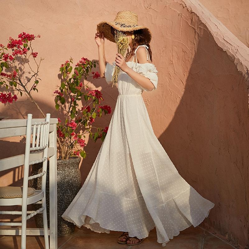 Nuovo super fata dea di una sola riga di estate delle donne spalla vestito dell'imbracatura Sling autunno lungo 2 nuove cinghie dimagrante vacanze bianco
