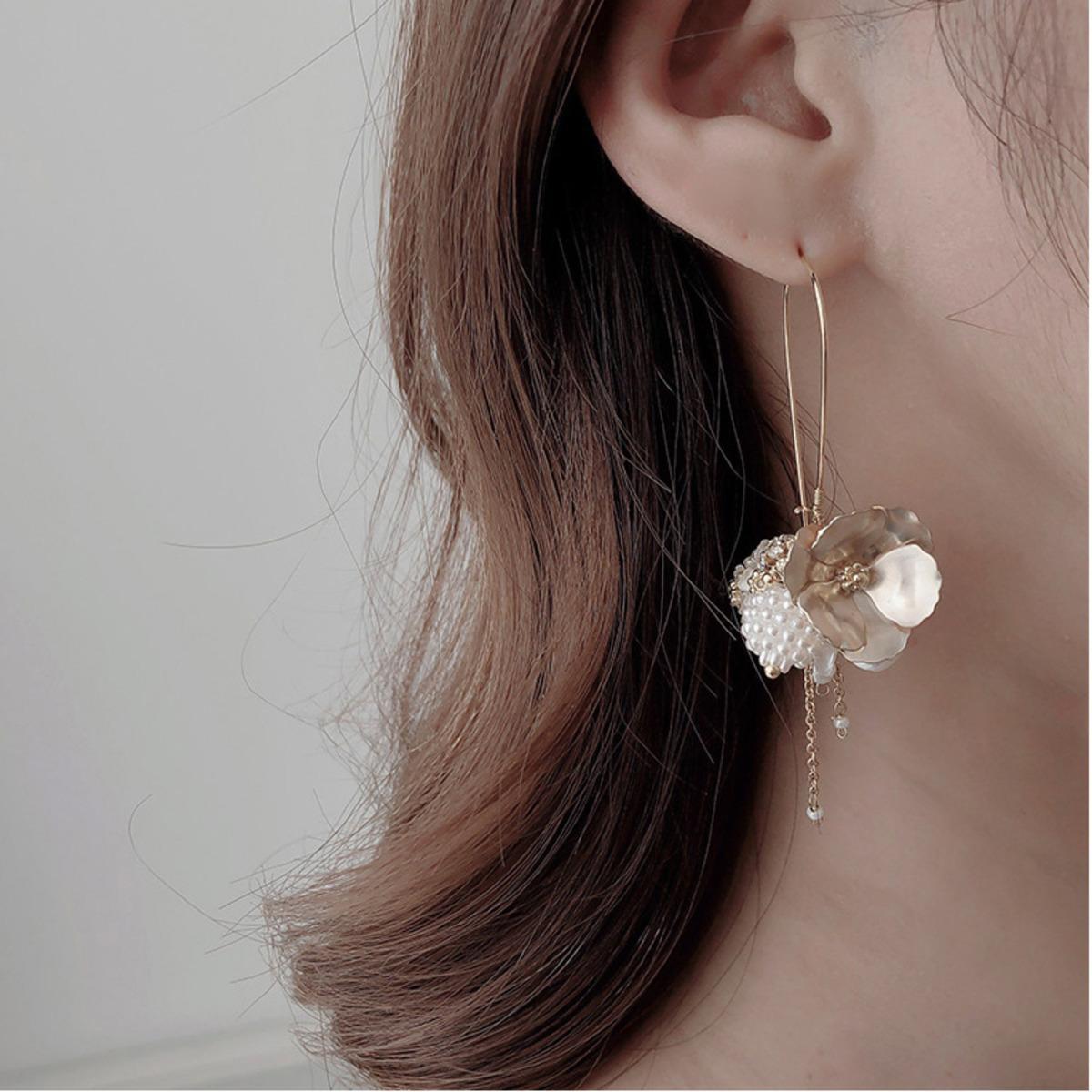 Korea earrings pearl luxury geometry metal gold shell pearl ball flower tassel long section ear rings fashion women earring 2019