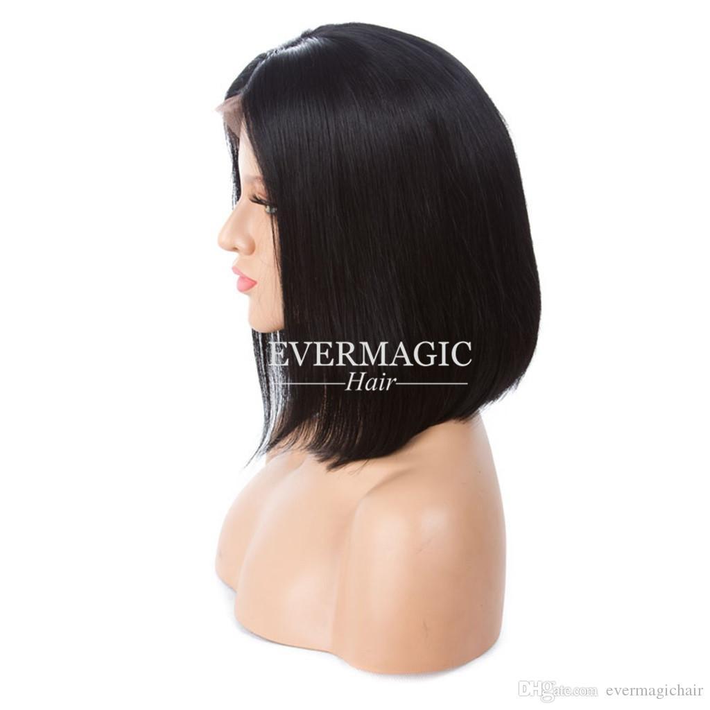 Короткие парики из натуральных волос с детскими волосами, предварительно выщипанными бразильскими реми волосами, прямые короткие парики с короткими бобами для чернокожих женщин