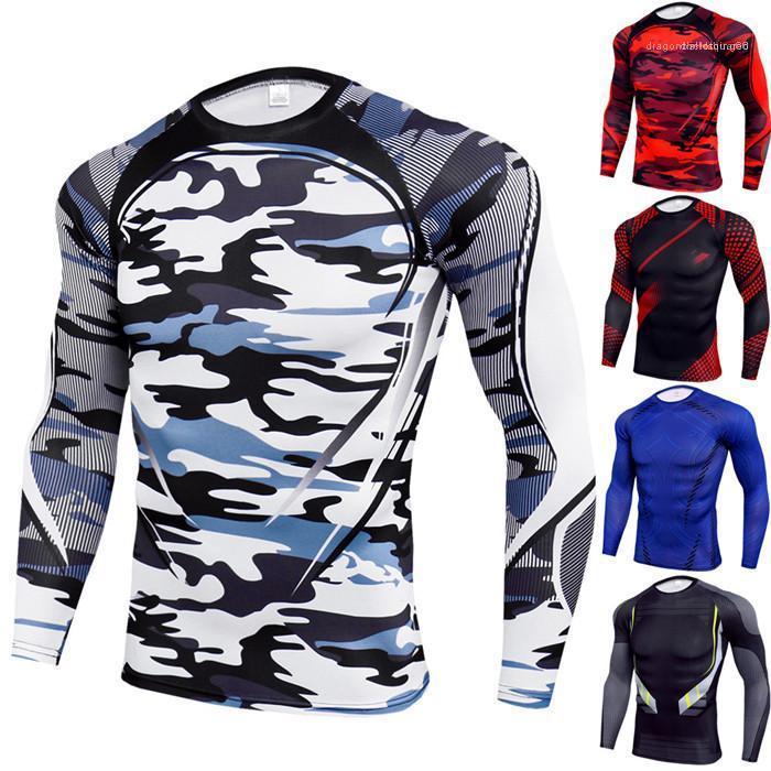 Estilo Fashion Designer Sports T-shirts Crew Neck manga comprida Casual Vestuário Verão Casual Vestuário magro dos homens