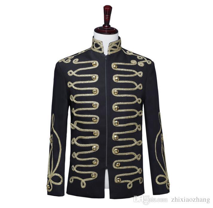 Черный блейзер мужские костюмы дизайн мужской пиджак подставка воротник певцы одежды военная форма одежды панк-рок-это Masculino мужской