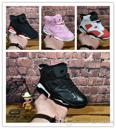 nike air jordan aj6 2018 дешевые дети спортивная обувь 6 Дети баскетбол обувь J6 спортивные кроссовки для мальчиков и девочек малышей подарок на День Рождения, 11C-6Y