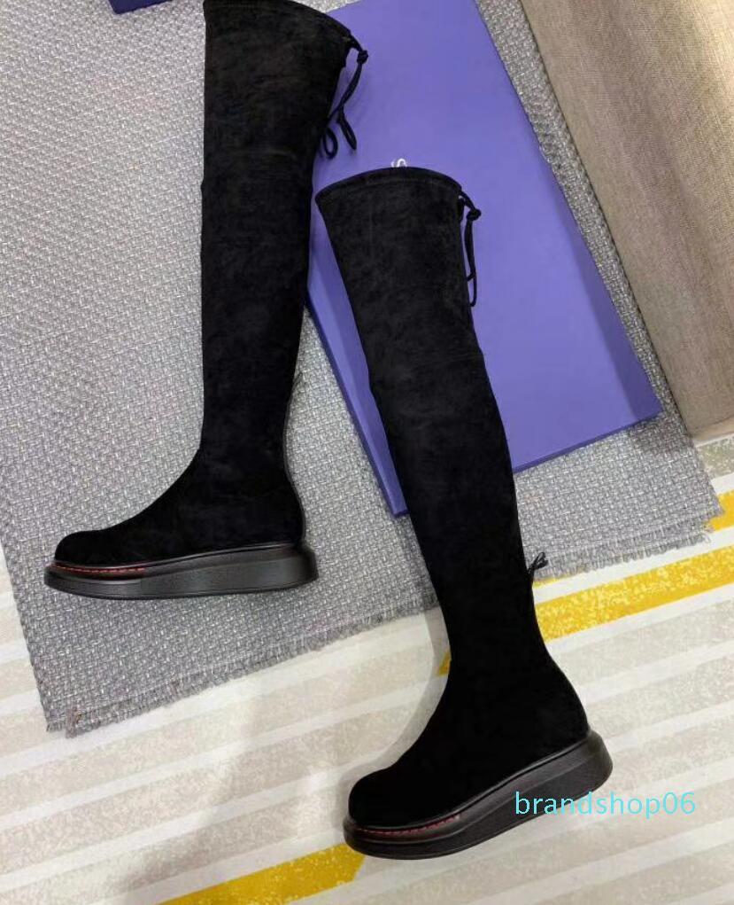La venta caliente para mujer de las señoras de cuero negro real con estiramiento pu tacones gruesos cuña de la plataforma del muslo de alta Más de la rodilla botas altas