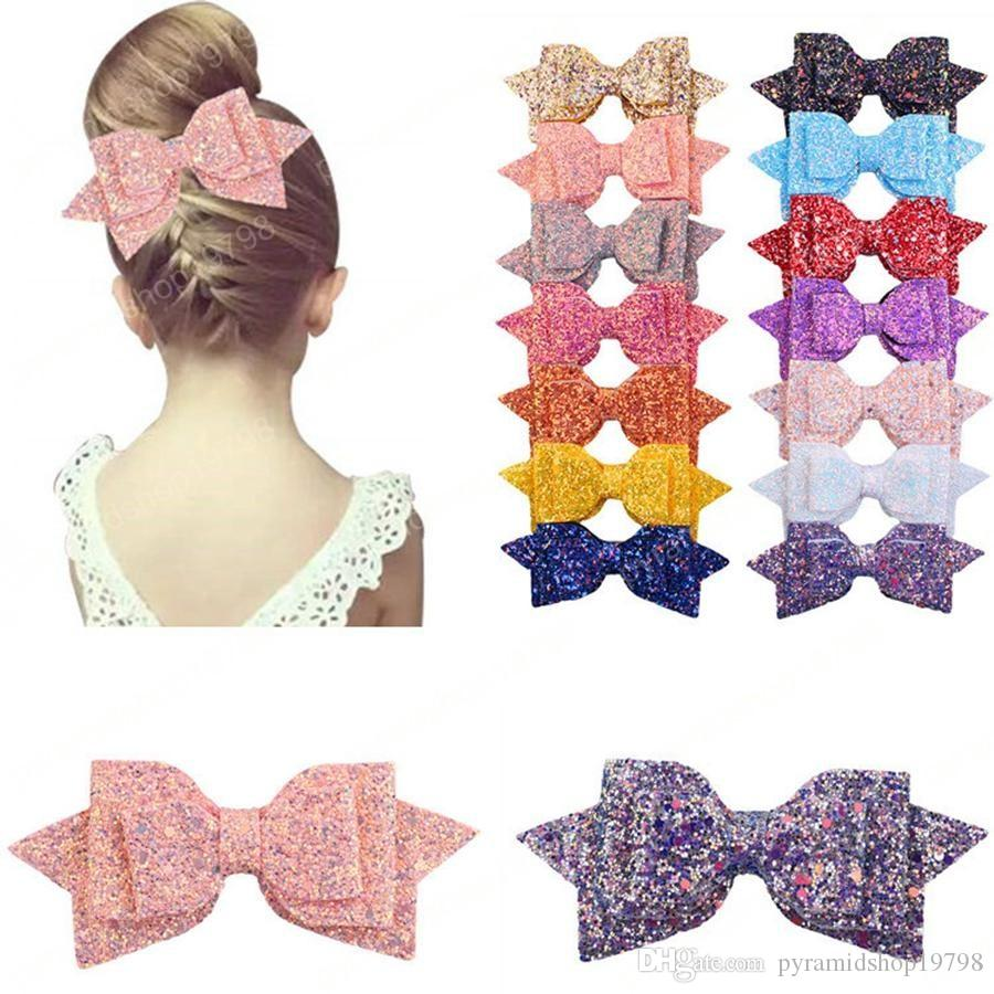 Paillettes Bow Barrettes Filles Big Glitter Bow cheveux bébé CÉRÉMONIES Barrette enfants mignons Hairpin Party Vintage Accessoires cheveux Nouveau