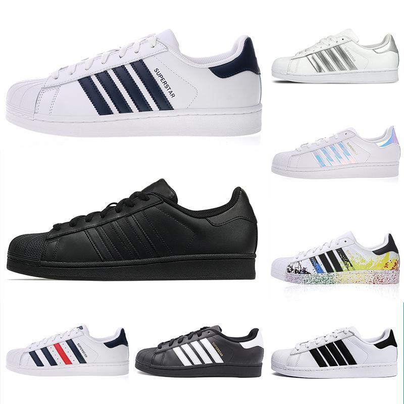 Adidas Superstar 80s  2018 NOUVEAU Originals Superstar blanc irisé Hologram junior Superstars des années 80 Fierté Sneakers Super Star Femmes Hommes Sport Chaussures N56