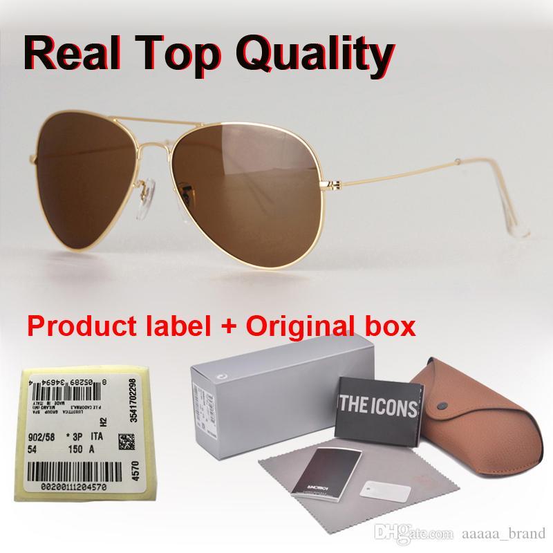 ücretsiz Perakende kutu ve etiket ile En kaliteli marka tasarımcısı Pilot Güneş gözlüğü Erkekler Kadınlar 58 / 62mm metal çerçeve UV400 degrade cam mercek