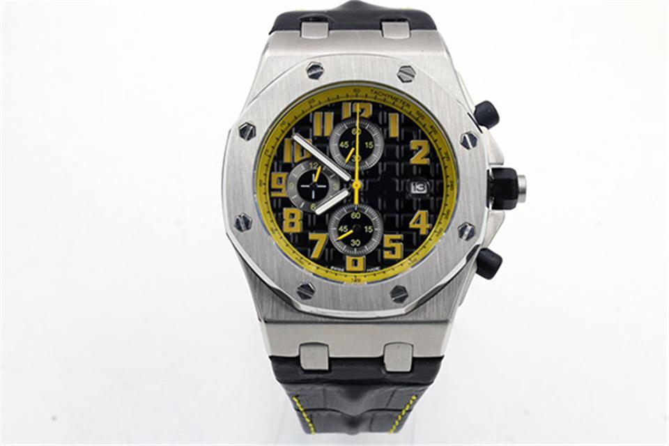 Роскошные мужские наручные часы 42мм Циферблат Желтый Жирный Все Спорт на открытом воздухе Мода часы кожаный ремешок кварца высокого качества Спортивные часы для мужчин