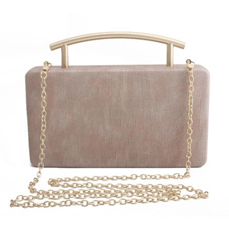Chinesischer Stil Frühling und Sommer neues feste Farbe PU-kleines quadratische Tasche Metall portable Bankett Tasche Hochzeitspaket
