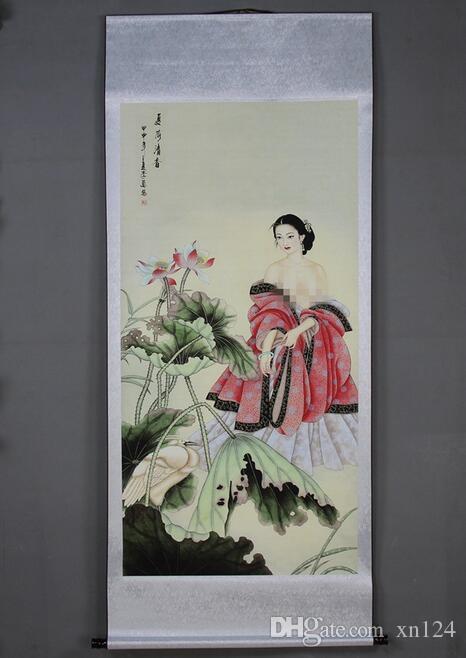 Metà Sala montato la pittura di paesaggio Paesaggio di scorrimento verticale all'ingrosso caratteri di bellezza Pittura Xia ha Qingxiang Apprezzamento