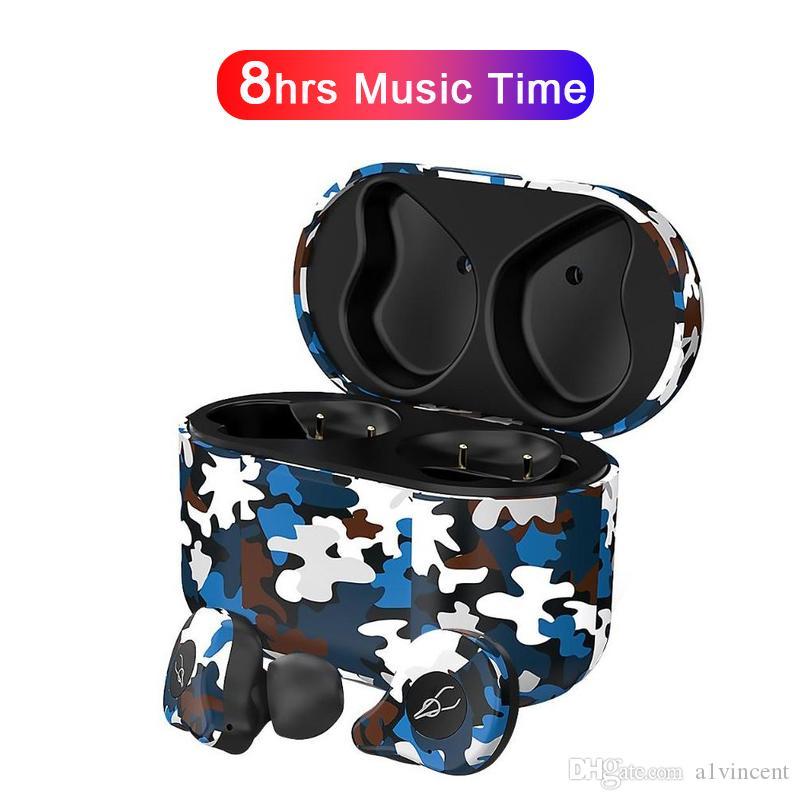Bluetooth aptX camuflaje E12 Ultra camuflaje TWS verdadera Wireless v5.0 auricular sin hilos del cargador auricular en la oreja