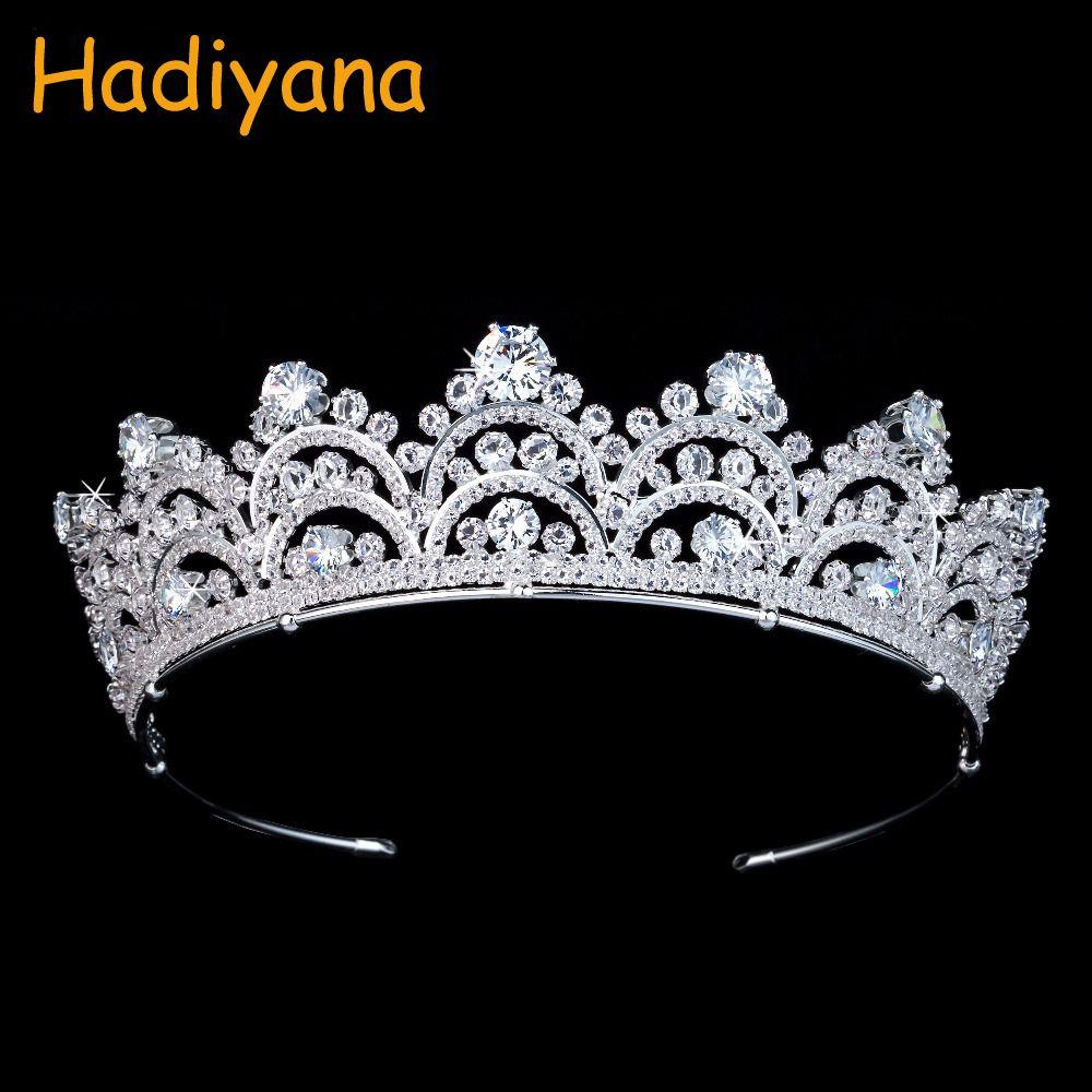 Acessórios de cabelo do casamento Hadiyana New Arrival Sparkling Zirconia Couronne De Mariage Crystal Fashion Crown por Mulheres BC3435 CJ191226