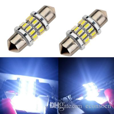 50PCS 31mm 3014 24 SMD Festoon Dome Car Light Interior Lamp Bulb Dome Ceiling Panel Light
