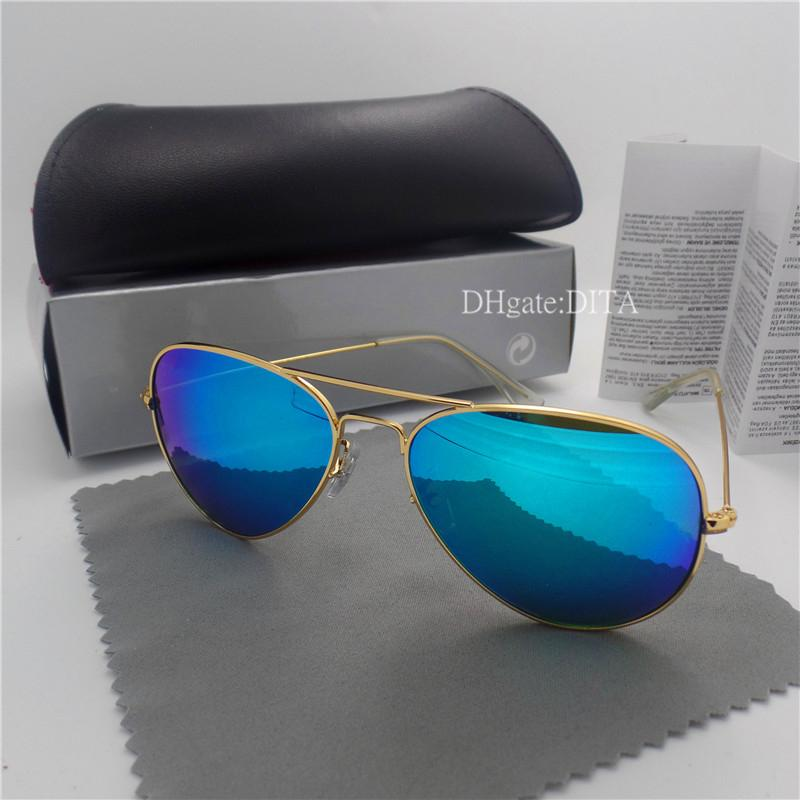 Wholesale-Glass Lens Brands Sunglasses Men Women Metal Frame 58MM 62MM Trends Vintage Eyewear Flat 10 Color Mirror UV400 Pilot Cases Box