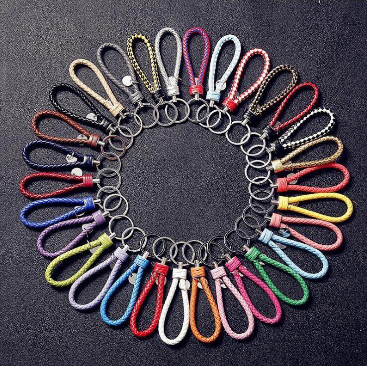 PU cuir porte-clés pendentif porte-clés support voiture Porte-clefs Tressé Porte-clés de corde tressée Sac bijoux à la mode de cadeau de Noël LXL610A