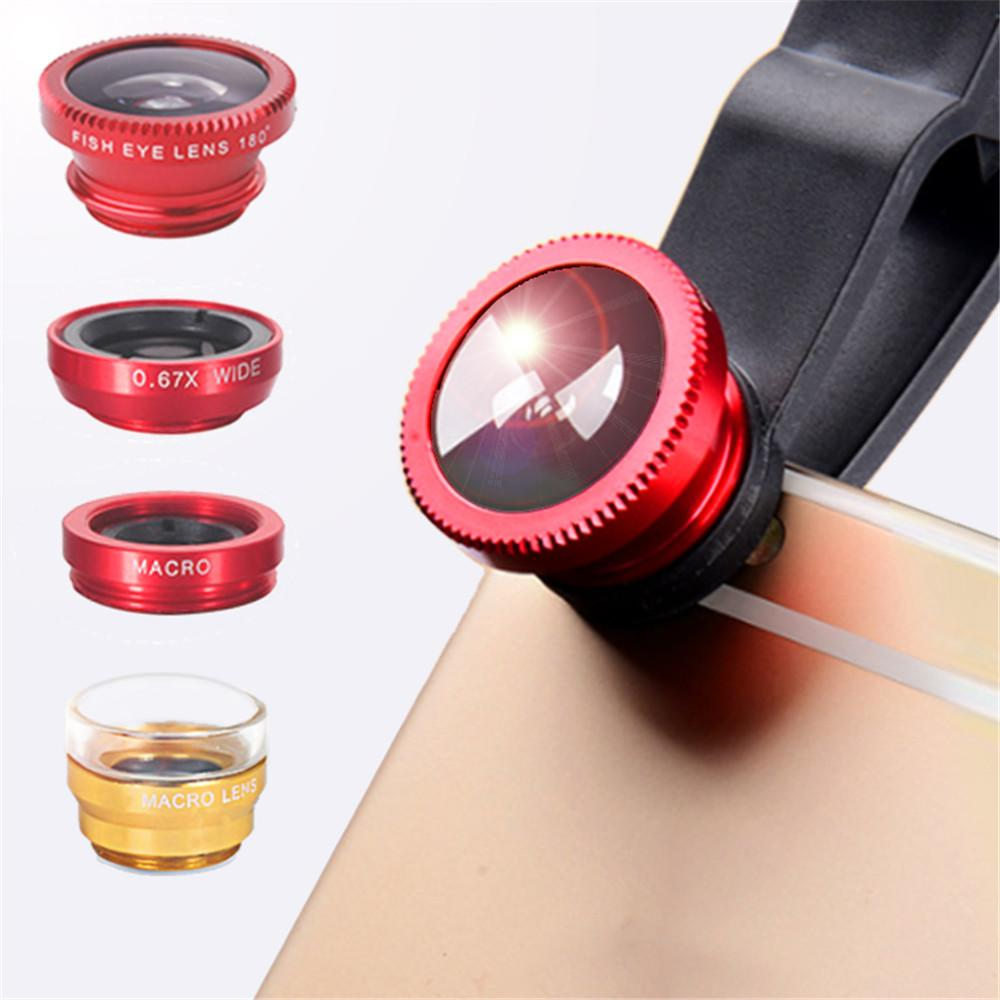 phone lens Fisheye 0.67x Wide Angle Zoom len fish eye 6x macro lenses Camera Kits with Clip on phones for smartphone