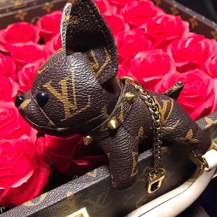 Beste Weihnachtsgeschenk Marken-Handtasche dekorative Anhänger Luxus-Leder-Französisch Kampfhund Schlüsselanhänger Beste Qualität mit Box